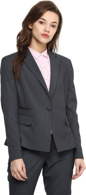 Annabelle by Pantaloons Solid Single Breasted Formal Women Blazer(Grey)