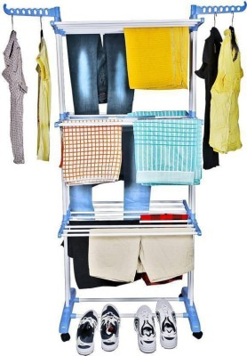 Dolphin Heavy Duty Double Pole Foldable Cloth Dryer / Clothes Drying Stand Stainless Steel Floor Cloth Dryer Stand(Multicolor)