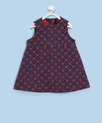 United Colors of Benetton Girls Midi/Knee Length Casual Dress(Blue, Sleeveless) at flipkart