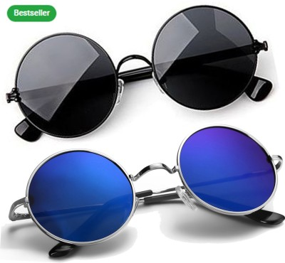 Phenomenal Round Sunglasses(Black, Blue)