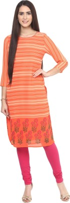 Fusion Beats Women Striped Straight Kurta(Orange)