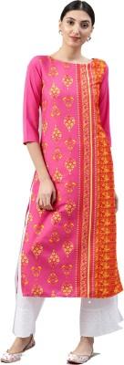 Ahika Women Printed Straight Kurta(Pink, Red)