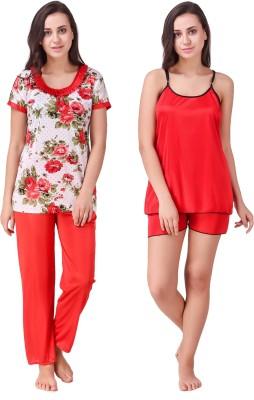 Ansh Fashion Wear Women Printed Red, Red Night Suit Set