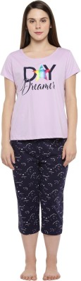 Dreamz by Pantaloons Women's Printed Purple Top & Capri Set