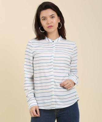Vero Moda Casual Full Sleeve Striped Women Black, White Top