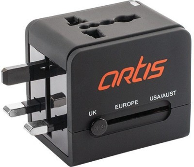 Artis AR UV200 Universal Converter Charger Plug With 2.1A USB Worldwide Adaptor Black Artis Laptop Accessories