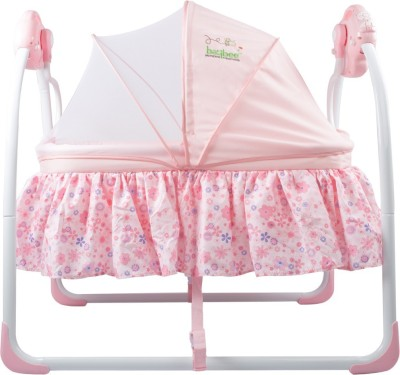 Baybee Premium Quality Electric Baby Cradle Swing   Music Sleeping Basket Bed   Lightweight and Transportable(Pink)