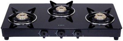 Elica 703 Ct Vetro Blk Steel, Glass Manual Gas Stove(3 Burners)