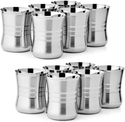 Floranso GL112 Glass Set(Steel, 400 ml, Steel, Pack of 12)