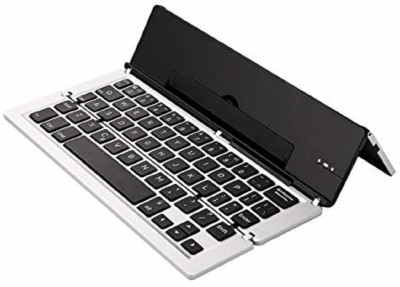 Un-Tech Foldable Keyboard with Kickstand for iPhone, iPad, Andriod Cellphone and Windows Tablet Silver Magnetic, Bluetooth, Wireless Tablet Keyboard(Silver) at flipkart