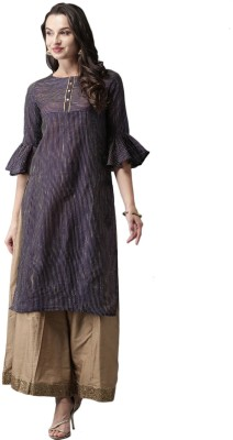 Anouk Women Striped Straight Kurta(Blue)