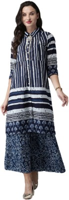 Anouk Women Printed Straight Kurta(Dark Blue)