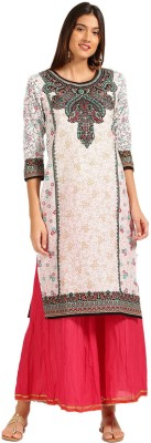 Anouk Women Printed Straight Kurta(White)
