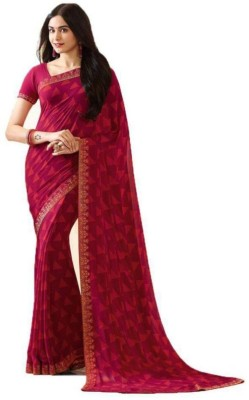 SHIVAM TEXTILES Geometric Print Bollywood Chiffon Saree(Maroon) Flipkart