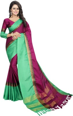 HashTag Fashion Solid, Applique, Paisley, Hand Painted, Digital Prints, Checkered, Embellished, Geometric Print, Self Design Banarasi Cotton Silk, Cotton, Silk Saree(Light Green) Flipkart