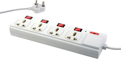 ELV AC 125V/230V 6 Amp, 4 Plug Point with Individual Switches, LED Indicator Extension Board with 4 Socket Surge Protector(White)