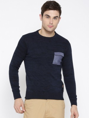 Roadster Self Design Round Neck Casual Men Blue Sweater at flipkart