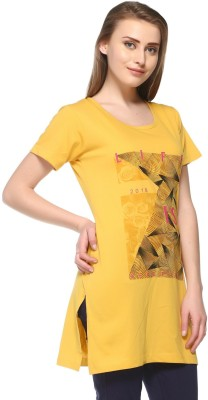 IN Love Casual Short Sleeve Graphic Print Women Yellow Top