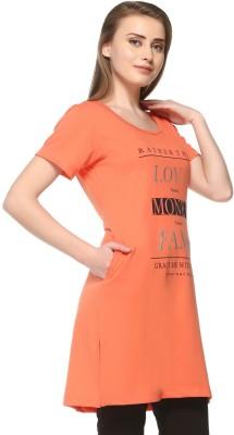 IN Love Casual Short Sleeve Floral Print Women Orange Top