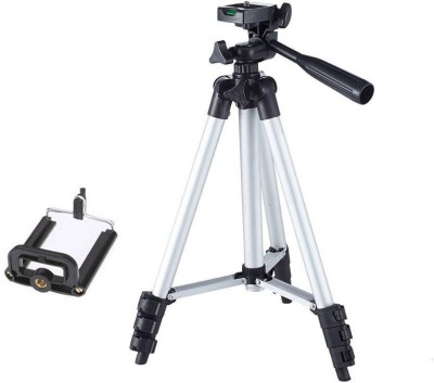 Ruhi Tripod-3110 Portable Adjustable Aluminum Lightweight Camera Stand With Three-Dimensional Head & Quick Release Plate For Video Cameras and mobile Tripod Tripod(Black, Silver, Supports Up to 1000 g)