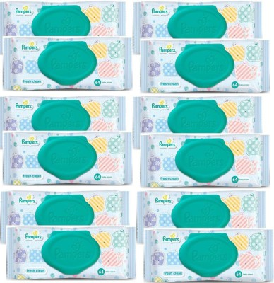 Pampers Fresh Clean Baby Wipes Combo Pack Of 12pcs (Per Pcs 64 Wipes)(12 Pieces) at flipkart