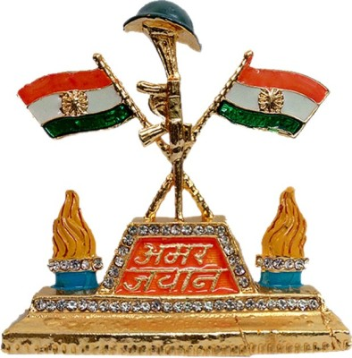 FABZONE Fabzone Gold Plated Indian Flag With Amar Jawan Cap Car Dashbord Statue Handicraft Decorative Gift Item Showpiece / Office / Home Decor Double Sided Wind Car Dashboard Flag Flag(Metal)