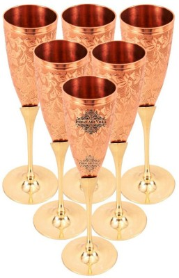 IndianArtVilla Set of 6 Glass Set(Copper, 900 ml, Brown, Pack of 6)