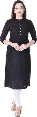 Style N Shades Women's Solid Straight Kurta(Black)