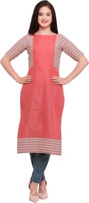 Kvsfab Women Striped, Self Design A-line Kurta(Pink, Beige)