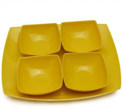 DEEMARK Melamine 4 veg bowl with 1 Tray YELLOW Tray, Bowl Serving Set Pack of 5 DEEMARK Serving Sets