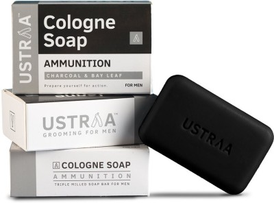 Ustraa Ammunition Cologne Soap with Charcoal & Bay Leaf(375 g, Pack of 3)
