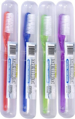 Dr. Flex DuPont Filaments with Anti-Bacterial Container Medium Toothbrush(Pack of 4)