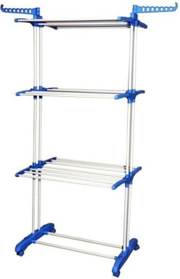 SUNDEX Plastic, Mild Carbon Steel Powder Coated Double Pole 3 Layer Portable Clothes Drying Stand with wheels (Made in India) (Blue) Carbon Steel Floor Cloth Dryer Stand (Blue) Stainless Steel Floor Cloth Dryer Stand(Multicolor)