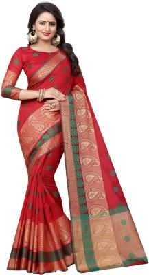 SATYAM WEAVES Paisley Banarasi Cotton Silk Saree(Red)