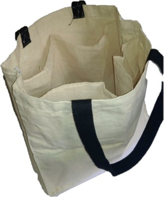hashtag eco Eco Friendly Vegetable Bag with 4 Compartments Multipurpose Bag Beige, 5 L