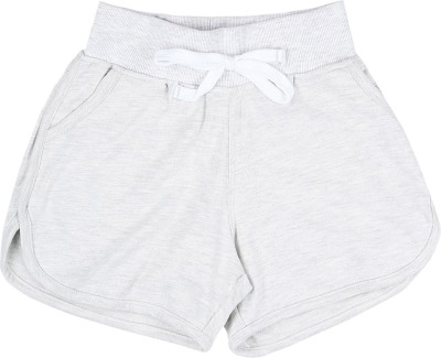 Gini & Jony Short For Girls Casual Solid Cotton(Grey, Pack of 1)