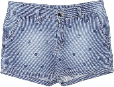Gini & Jony Short For Girls Casual Printed Denim(Blue, Pack of 1)
