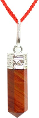 Om Pooja Shop Red Jasper Pencil Pendant Sterling Silver Jade Stone Pendant