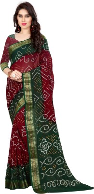 Concepta Self Design Bandhani Cotton Blend, Art Silk Saree Multicolor Concepta Women\'s Sarees
