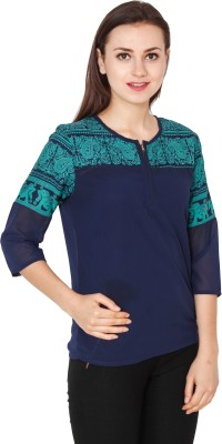 Delux Look Casual 3/4 Sleeve Animal Print Women Blue Top Delux Look Women's Tops