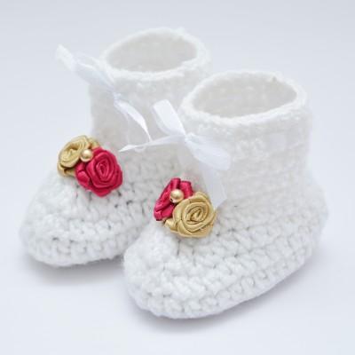 Love Crochet Art Crochet knitted prewalker baby bootie for 6-12 month Booties(Toe to Heel Length - 10 cm, White)