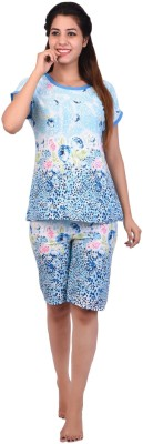 Icable Women Floral Print Blue Top & Shorts Set