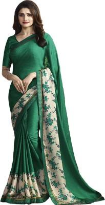 Wow Creation Printed Bollywood Silk, Crepe Saree(Green, Beige)
