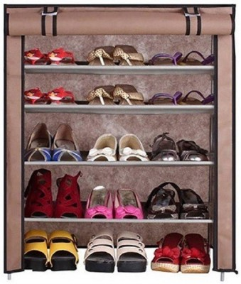CMerchants Classic-Brown01-Stand Metal Collapsible Shoe Stand(Brown, 4 Shelves)