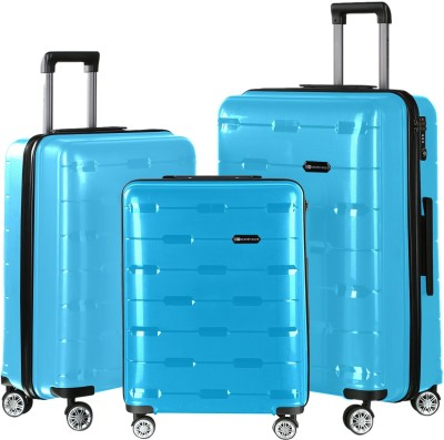 739c1b1ad 53% OFF on Nasher Miles Santorini PP Hard-Sided Luggage Set Of 3 Trolley/ Travel/Tourist Bags (55, 65 & 75 Cm) Aqua Blue Check-in Luggage - 28 inch(Blue)  on ...