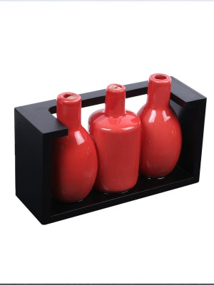 Fourwalls Glazed Ceramic Vase in a Wooden Frame for table décor Ceramic Vase(5 inch, Red)