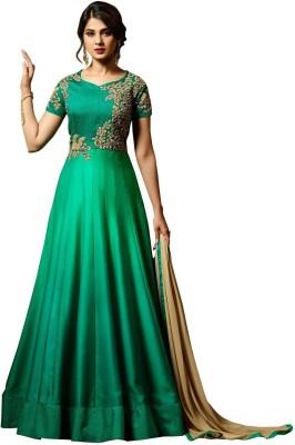 Fashionuma Silk Embroidered Semi-stitched Salwar Suit Dupatta Material