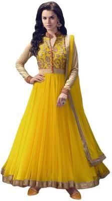 HOLARA SAREE Net Embroidered Semi-stitched Salwar Suit Dupatta Material