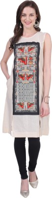 Seagull Casual Printed Women Kurti(Orange, Beige)