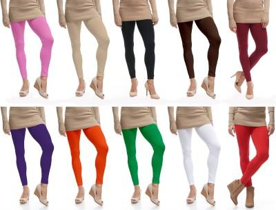 CN FASHION Churidar  Legging(Black, Pink, Orange, Green, White, Yellow, Solid)